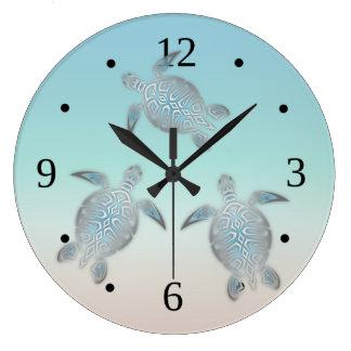 Beach Colors Gradient Turtles Clock