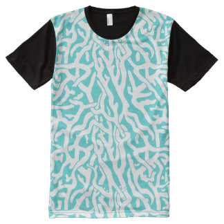 Beach Coral Reef Pattern Nautical White Blue All-Over Print T-Shirt