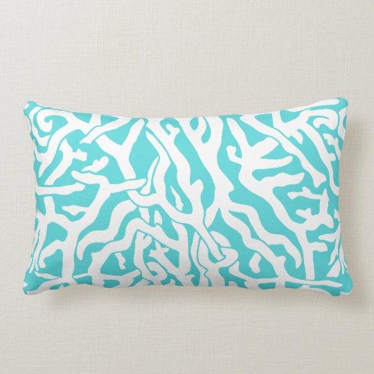 Beach Coral Reef Pattern Nautical White Blue Lumbar