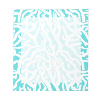 Beach Coral Reef Pattern Nautical White Blue Notepad