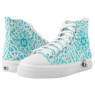 Beach Coral Reef Starfish | Aqua Blue | Monogram Printed Shoes