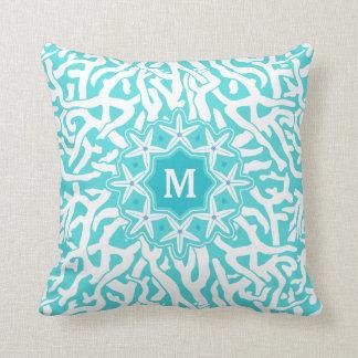 Beach Coral Reef Starfish Monogram | Aqua Blue Throw Pillow