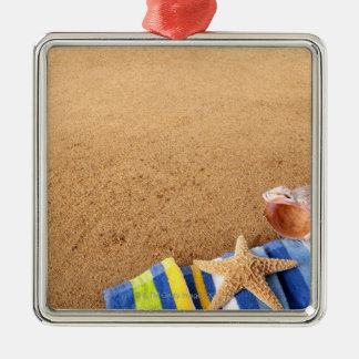 Beach corner border with towel, starfish and christmas ornament