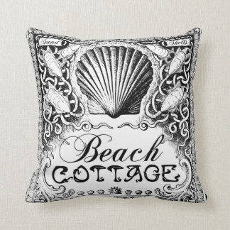 beach cottage with sea shells black_white cushion