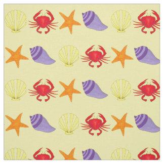 Beach Creature Crab Seashell Starfish Ocean Fabric