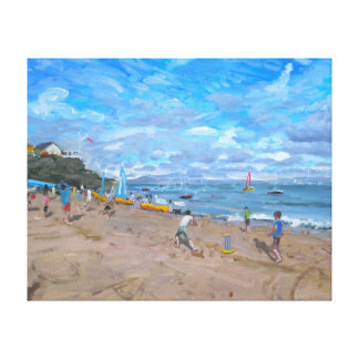 Beach cricket Abersoch 2013 Stretched Canvas Print