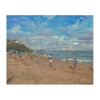 Beach cricket Abersoch 2013 Wood Print