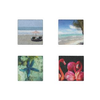 Beach Custom Personalize Anniversaries Stone Magnet