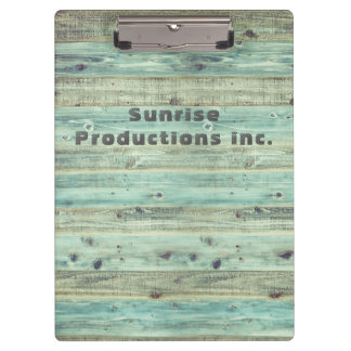 Beach custom text green woodgrain clipboard