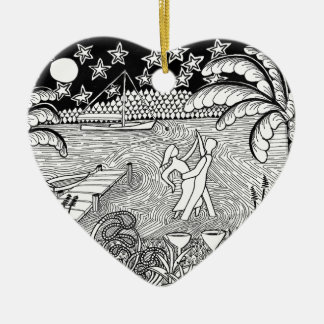 Beach Dancing Zentangle Style Christmas Tree Ornament
