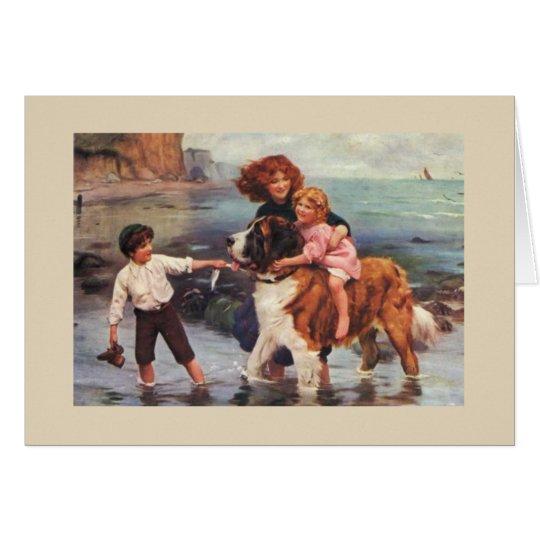 Beach Day with a Saint Bernard, Card