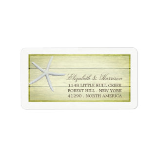 Beach Deck Starfish Wedding Label