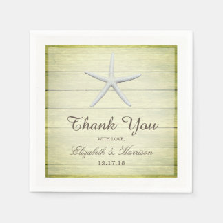 Beach Deck Starfish Wedding Paper Napkins