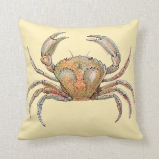 Beach Decor Crab Accent Pillow Marine Life