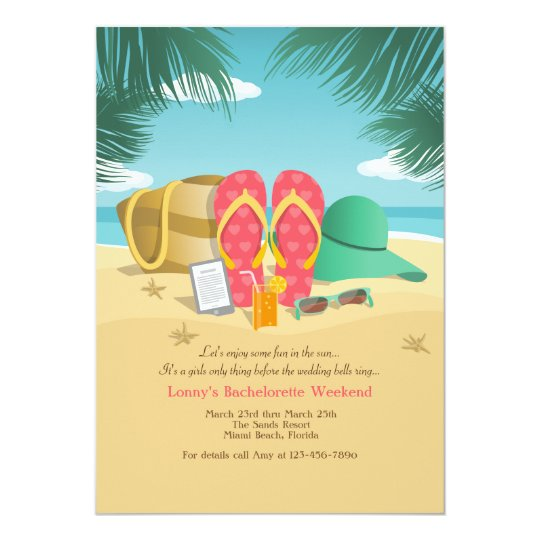Beach Destination Bachelorette Party Invitations