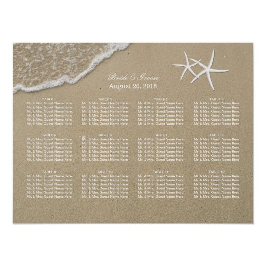 Beach Destination Starfish Wedding Seating Chart