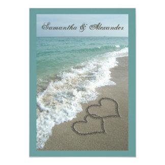 "Beach Destination Wedding 5x7, Sand Hearts 5"" X 7"" Invitation Card"