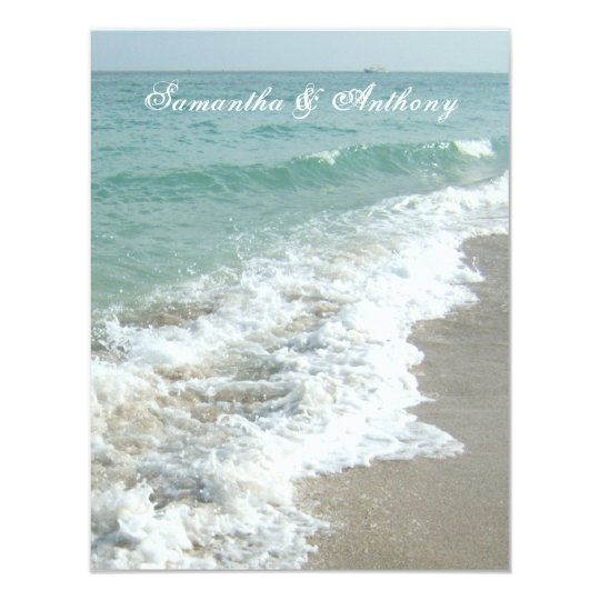 Beach Destination Wedding Invitation, Foaming Surf Card