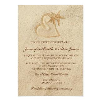 Beach Destination Wedding Invitation Sand & Heart