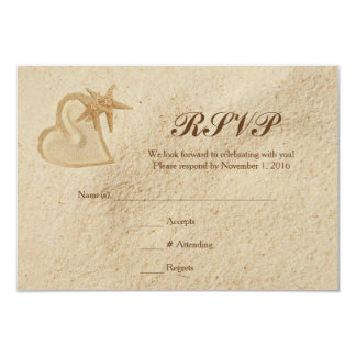 Beach Destination Wedding RSVP Sand & Heart Card