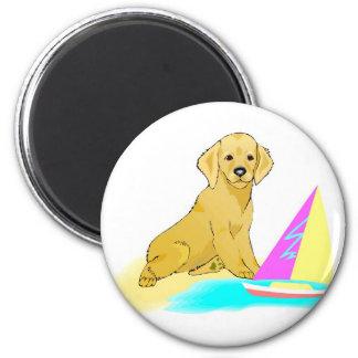 Beach Dog 6 Cm Round Magnet