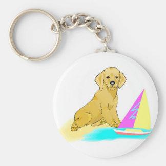 Beach Dog Basic Round Button Key Ring