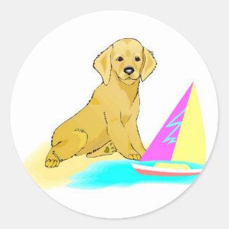Beach Dog Round Sticker