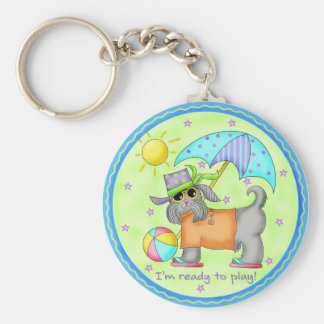 Beach Dog Whimsy Art Green Blue Basic Round Button Key Ring