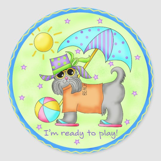 Beach Dog Whimsy Art Green Blue Round Sticker