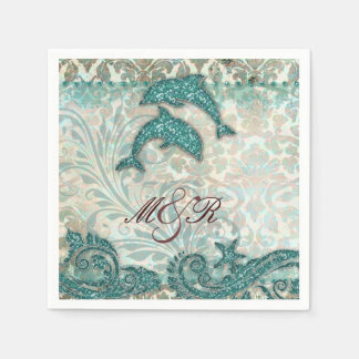 Beach Dolphin Damask Wedding Anniversary Disposable Napkins
