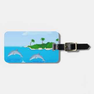 Beach Dolphin Scene Luggage tag