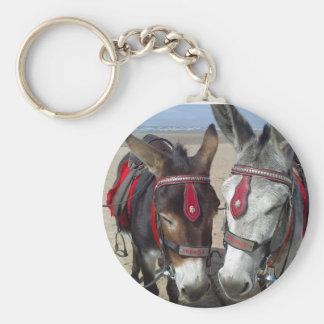 beach donkeys basic round button key ring