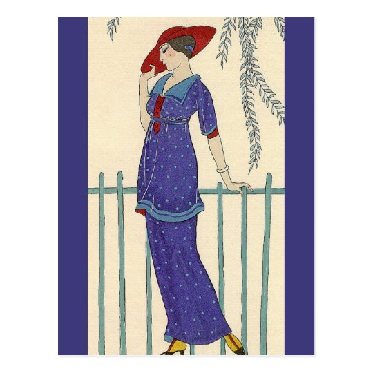 Beach Dress by George Barbier Postcard