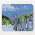Beach Fence & Dunes Christmas Greetings Mousemat