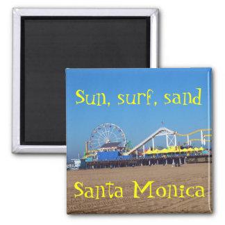 Beach Ferris Wheel Santa Monica, California Pier Square Magnet