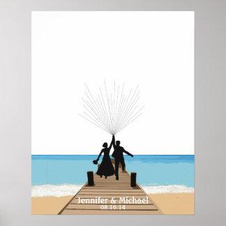 Beach Fingerprint Balloon Guestbook Poster