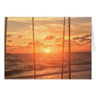 Beach Fishing Sunrise To Sunset Card