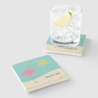 Beach Flamingo Theme Stone Coaster