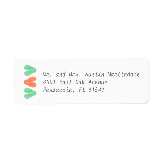 Beach Flip Flop Hearts Turquoise Coral Label