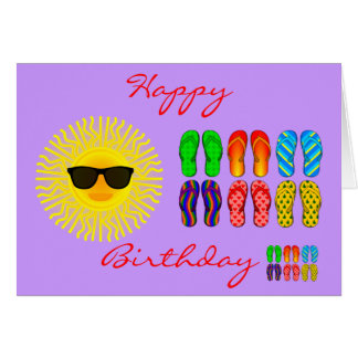 Beach Flip Flops and Sun with Sunglasses Birthday Card