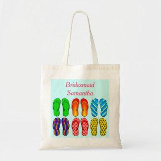 Beach Flip Flops Pattern Wedding Bridesmaid Custom Budget Tote Bag