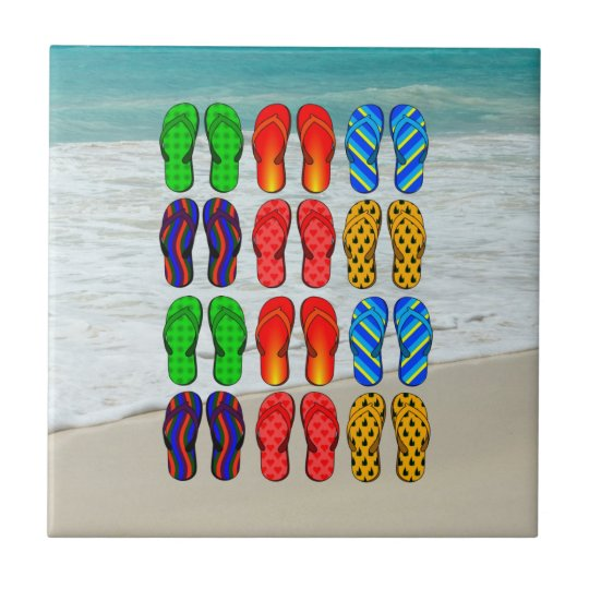 Beach Flip-Flops, Vacation Fun Small Square Tile