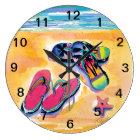 Beach Flip-flops wall clock
