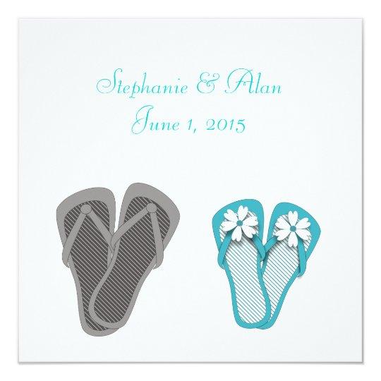 Beach Flip Flops Wedding Invitation
