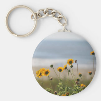 Beach Flowers on Galveston Island Basic Round Button Key Ring