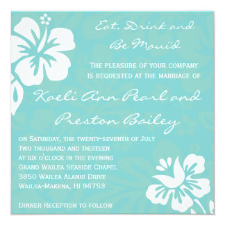 Beach Flowers - Teal 13 Cm X 13 Cm Square Invitation Card