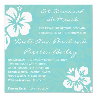 Beach Flowers - Teal Personalized Invitations