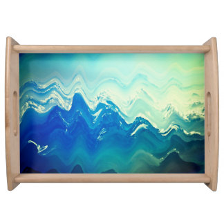 Beach foam abstract  Waves blue white Tray
