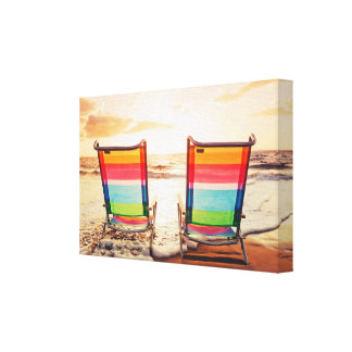 Beach Front Sunset Canvas Print