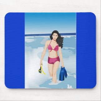 beach girl mouse pads